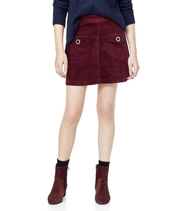 Mango Velvet Pocket Skirt