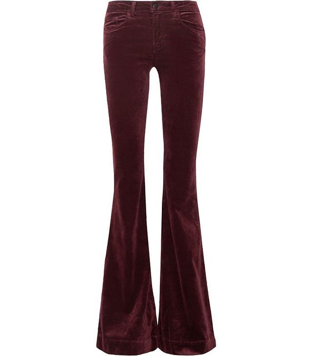 J Brand Bella Flared Velvet Trousers