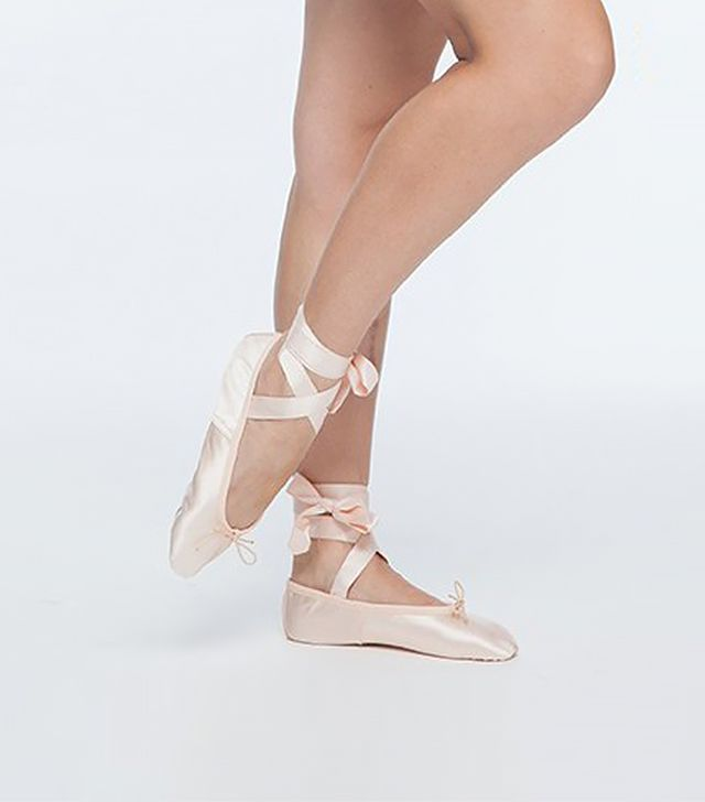 Ballet Beautiful Satin Workout Slippers With Ribbons