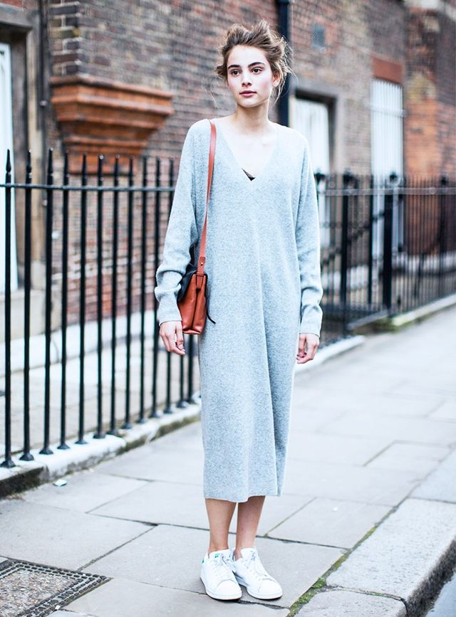 A cosy jumper dress and a pair of Stan Smithsare the ultimate it-works combo for those days when you just need to kick back.