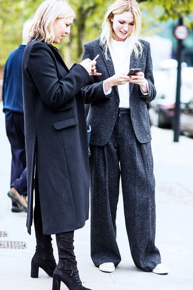 Many a London It girl has fallenfor the cosy and cool Donegal suit. Wear it with trainers to keep the look laid-back.