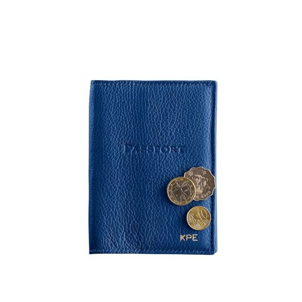 Mark & Graham Leather Passport Case in Cobalt