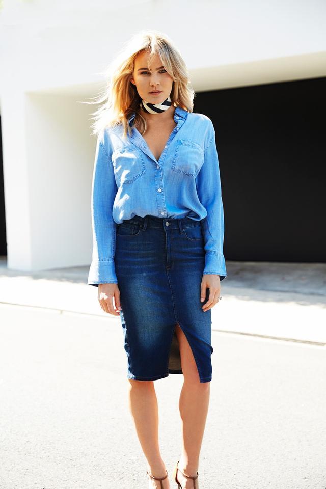 On Brooke: Mavi Sienna Skirt($99) Mavi Anya Oversized Shirt($117) Sergio Rossi Snakeskin Suede Pumps ($775)