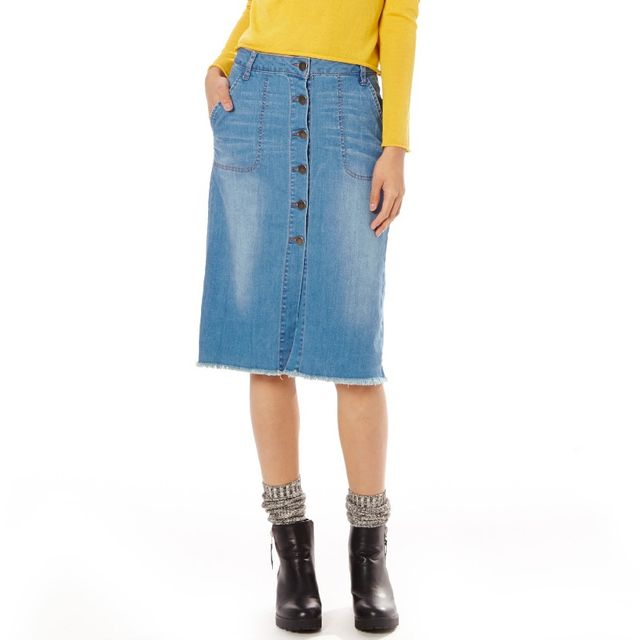 Glassons Button Up Denim Skirt