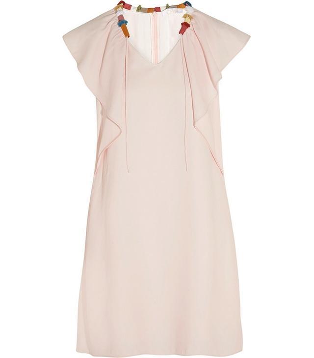 Chloé Grosgrain-Trimmed Ruffled Cady Dress