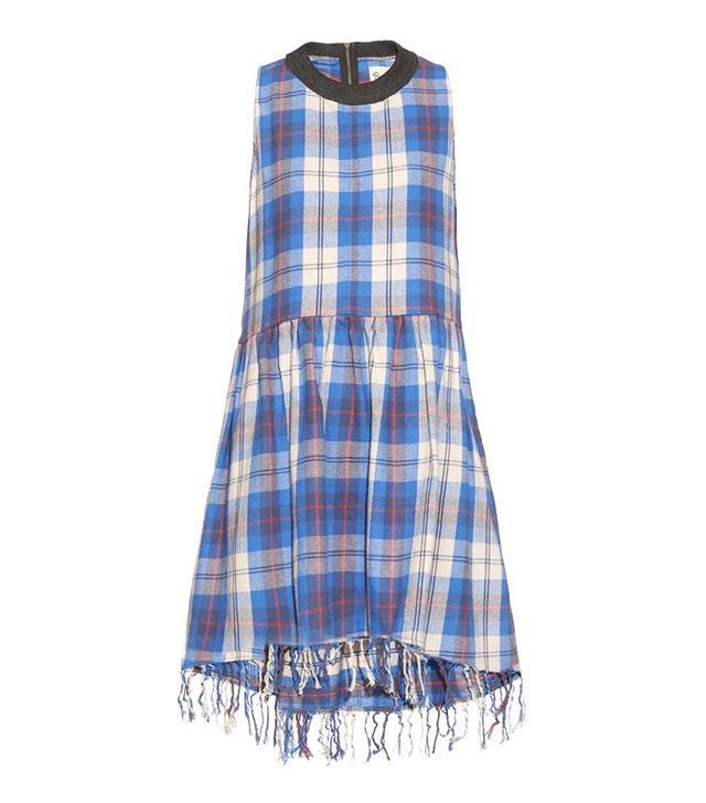 Sea Fringed-Hem Cotton Plaid Dress