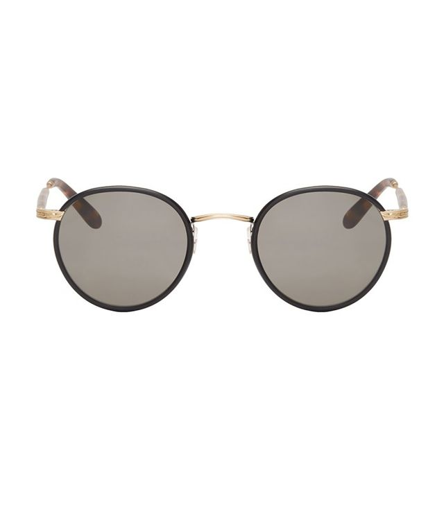 Garrett Leight Black Round Wilson Sunglasses