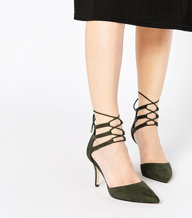 Sophia Lace-Up Pointed Heels