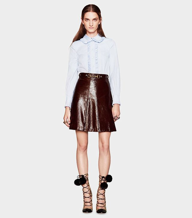 Gucci Light Patent Leather Pleated Skirt