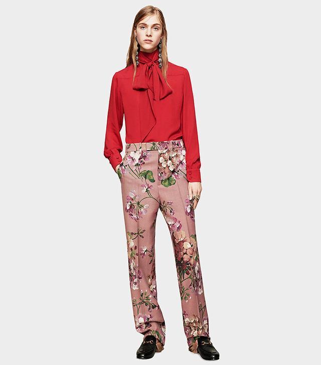 Gucci Blooms Print Straight Leg Pant
