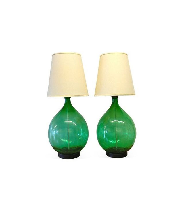 Skaebne Vintage Pair of Glass Lamps