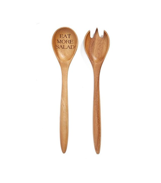 Milk and Honey Luxuries Eat More Salad Wooden Salad Servers