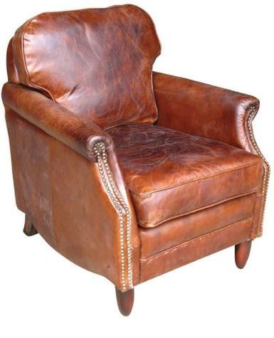 Allissias Attic Vintage Leather Library Armchair