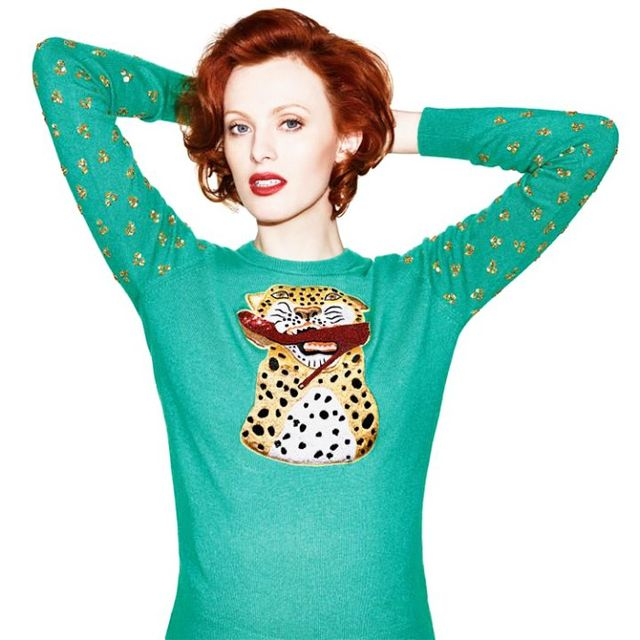 On Elson: Save The Children Charlotte Olympia X Karen Elson Sweater(£365). The collection is coming soon to Matches Fashion. Watch this space!