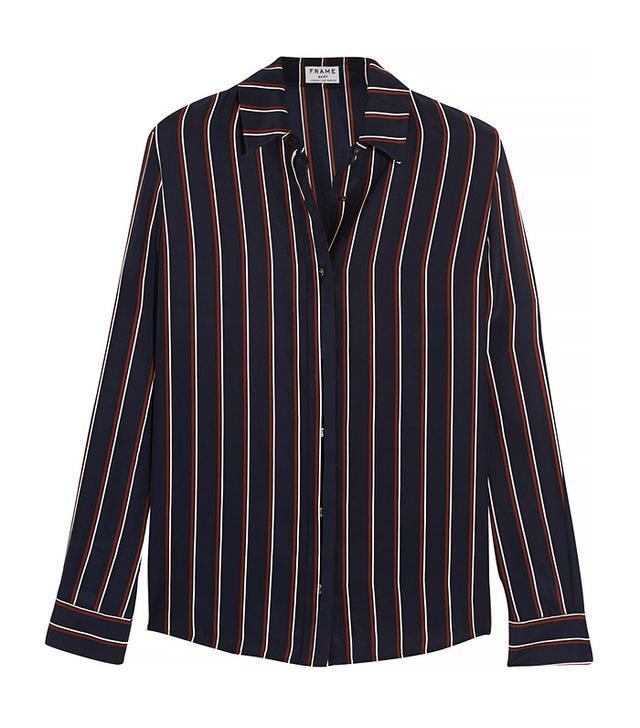 Frame Denim Le Classic Striped Washed Silk-Charmeuse Shirt