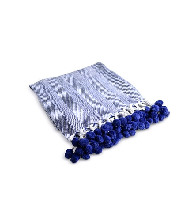 Furbish Herringbone Pom Pom Throw in Indigo