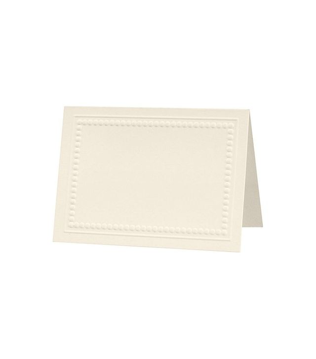 Paper Source Embossed Beaded Border Soft White Place Cards