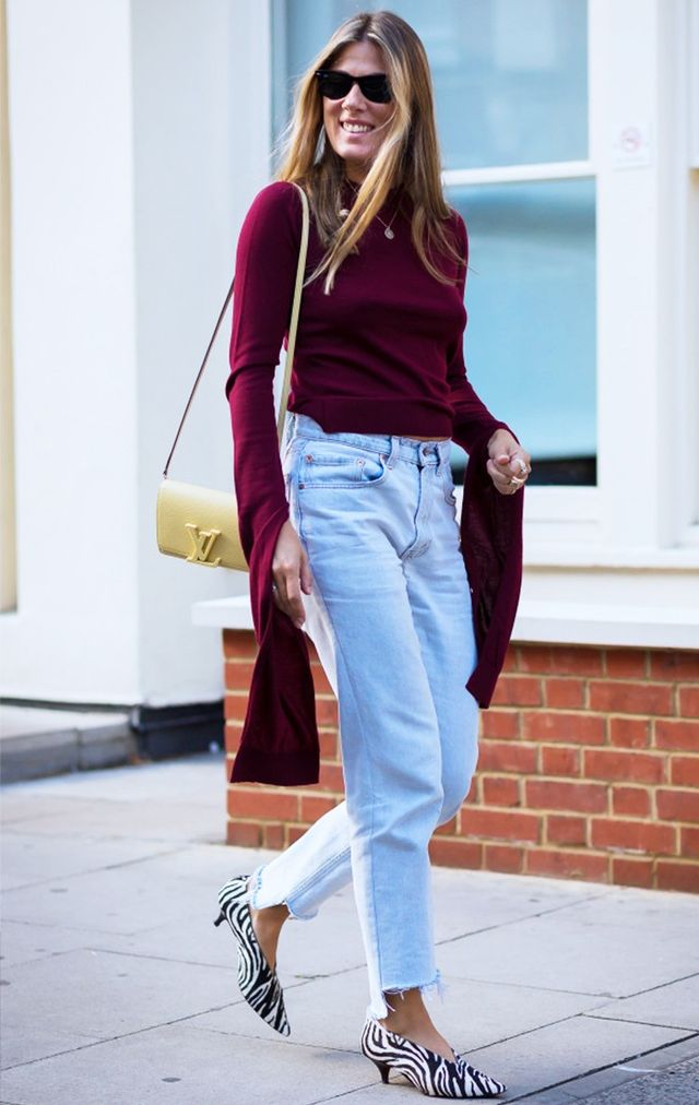 On Hartley: Jacquemus top; Vetement jeans; Louis Vuitton bag; Celine V-Neck Zebra Pumps (£610).