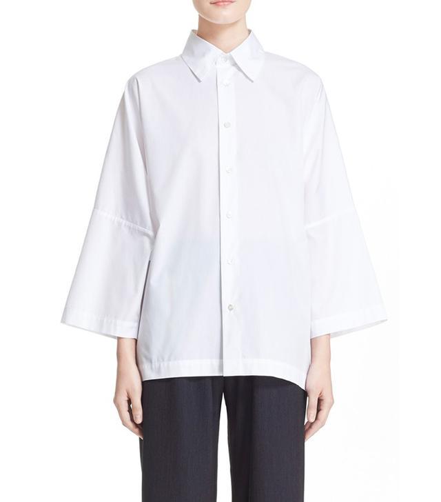 Eskander Three-Quarter Sleeve Poplin Shirt