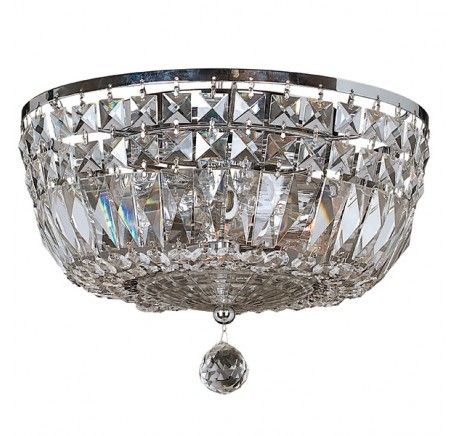Beacon Lighting Excelsior 3 Light Close to Ceiling Chandelier in Glass/Chrome