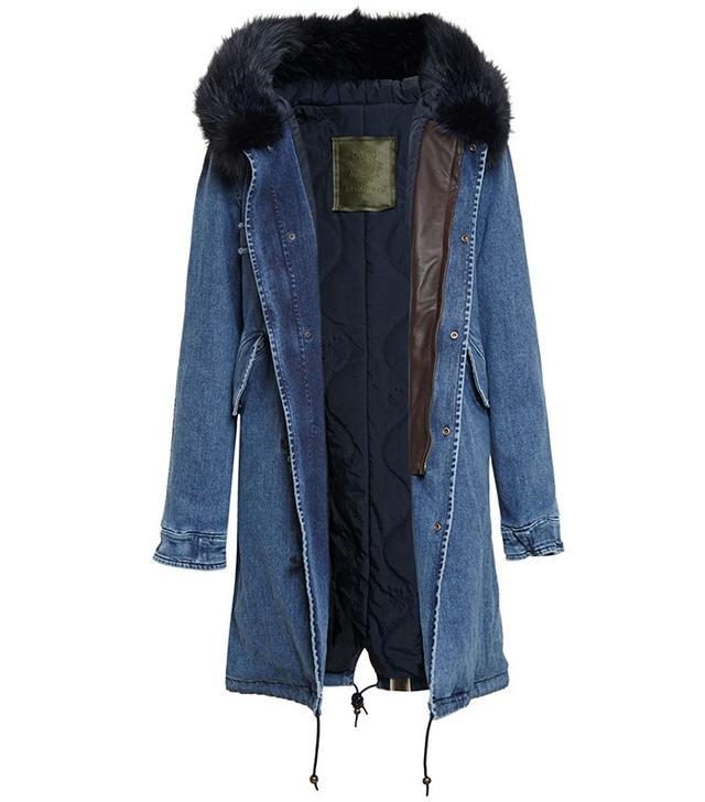 Mr & Mrs Italy Fur-Lined Denim Parka Coat
