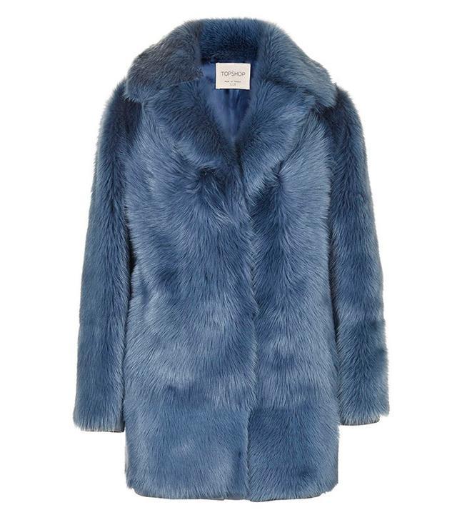 Topshop Premium Blue Sheepskin Coat