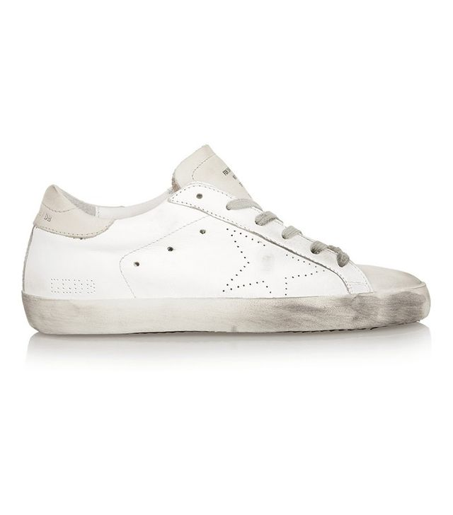 Golden Goose Deluxe Brand Superstar Distressed Suede-Paneled Leather Sneakers