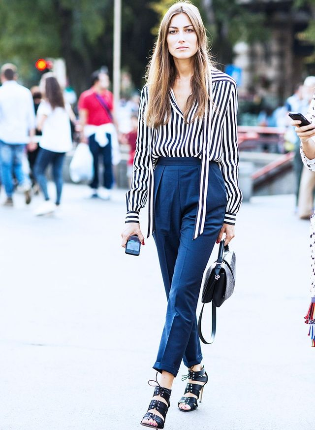 For the ultimate unsuspecting power-pairing, wear a monochrome stripe blouse with a pair of navy suit trousers (minus the jacket). The subtle colour contrast looks understatedly playful and oozes...