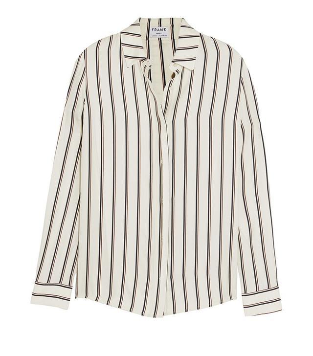 Frame Denim Classic Striped Washed Silk-Charmeuse Shirt