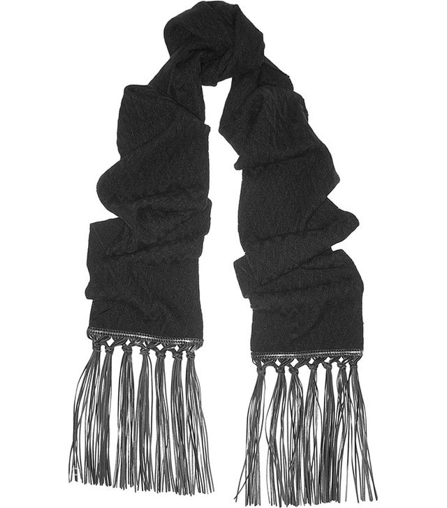 Valentino Leather-Trimmed Skinny Scarf