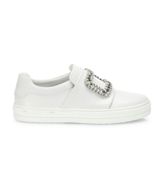 best white sneakers - Roger Vivier Sneaky Viv Crystal-Buckle Sneakers