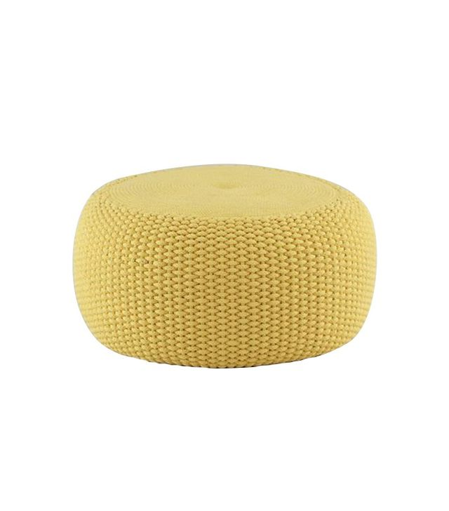 The Land of Nod Yellow Braided Pouf