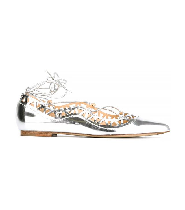 Bionda Castana Metallic Lace-Up Ballerinas