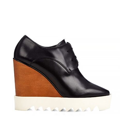 Wood & Rubber-Platform Faux Leather Wedge Oxfords