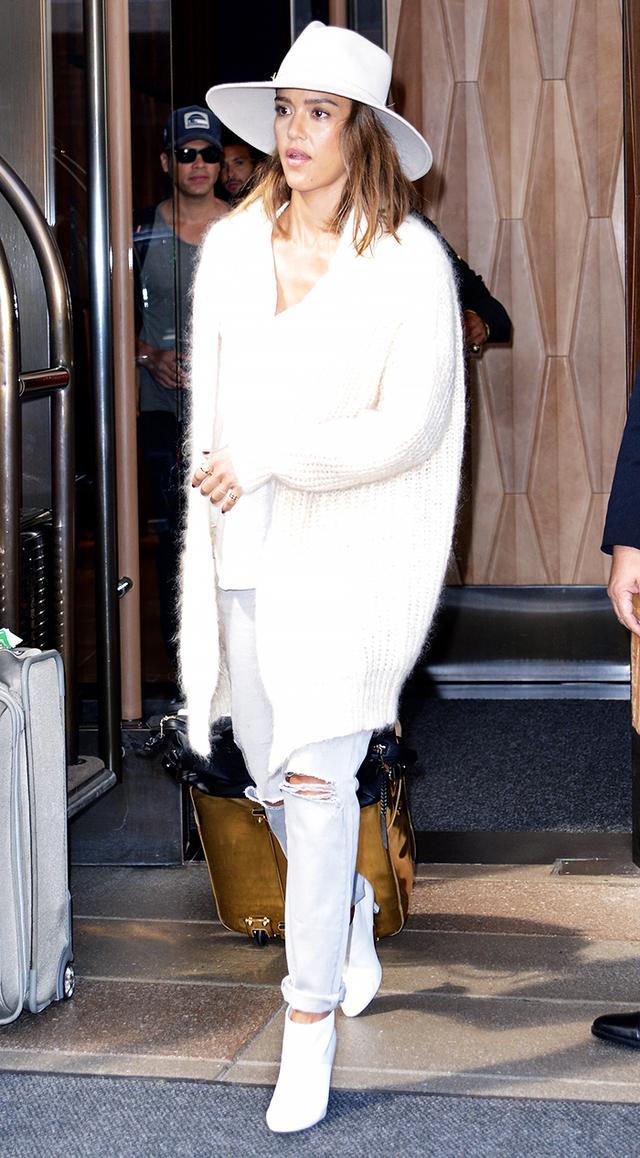 On Alba:Maje Memphis Cardigan (£420) andPastelle Slim-Fit Mid-Rise Jeans in Gris (£175);Tamara Mellon boots.