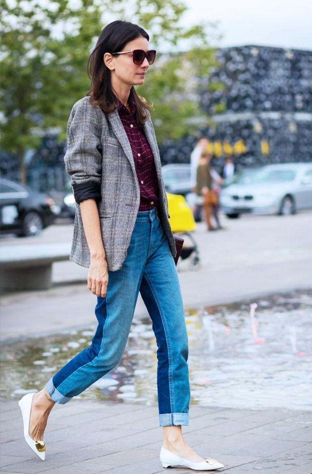 Double-up your checks prints with a classic jacket (sleeves rolled up, of course) and an off-duty shirt to tap into the heritage trend. On Yevari:Céline shoes.
