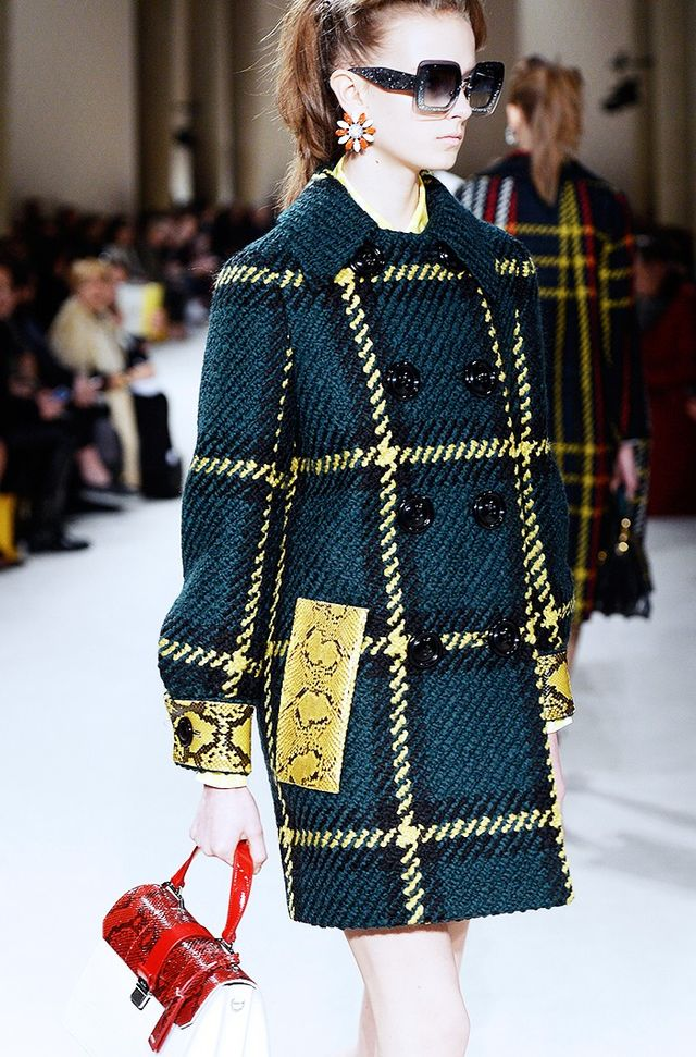 Miu Miu A/W 15 Catwalk Notes: The classic is made kitsch here with playful colours and python-trim details. Not for fashion's faint-hearted!