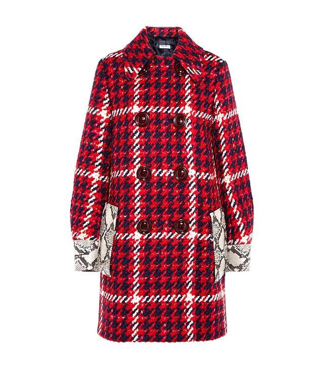 Miu Miu Python-Trimmed Wool Coat