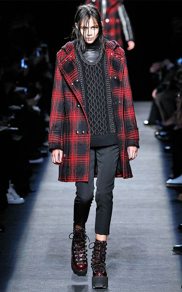 Alexander Wang A/W 15 Catwalk Notes: Inspired by Scottish clan tartan patterns, Wang reimagined the weave for 2015 with a directional twist that's highly wearable.