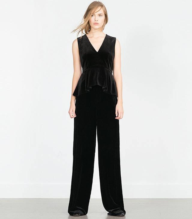 Zara Velvet Peplum Top
