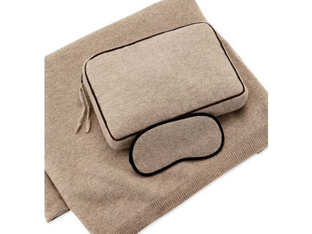 Sofia Cashmere Cashmere Jersey Travel Set in Beige