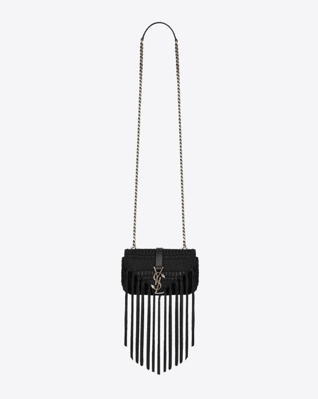 Saint Laurent Classic Baby Monogram Chain Bag in Black Leather and Crochet