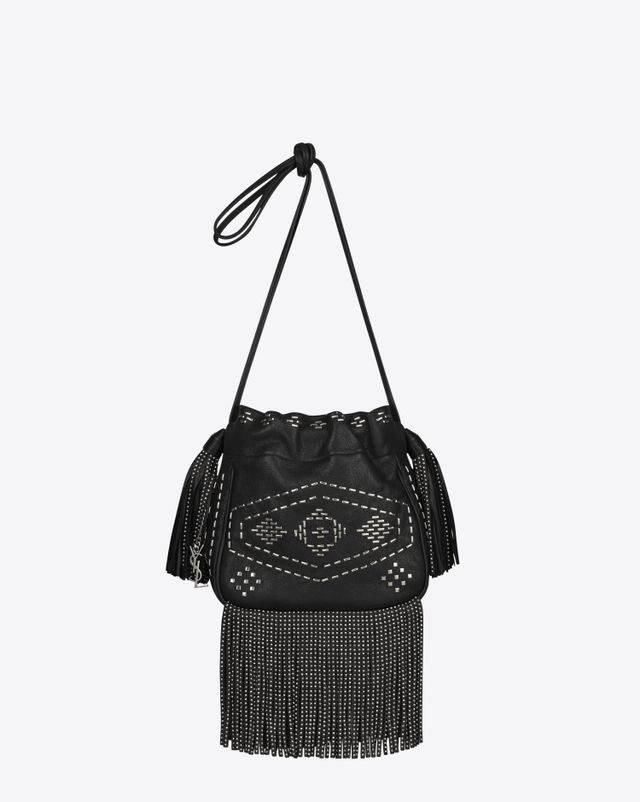 Saint Laurent Small Helena Fringed Bucket Bag in Black Leather and Oxidized Nickel