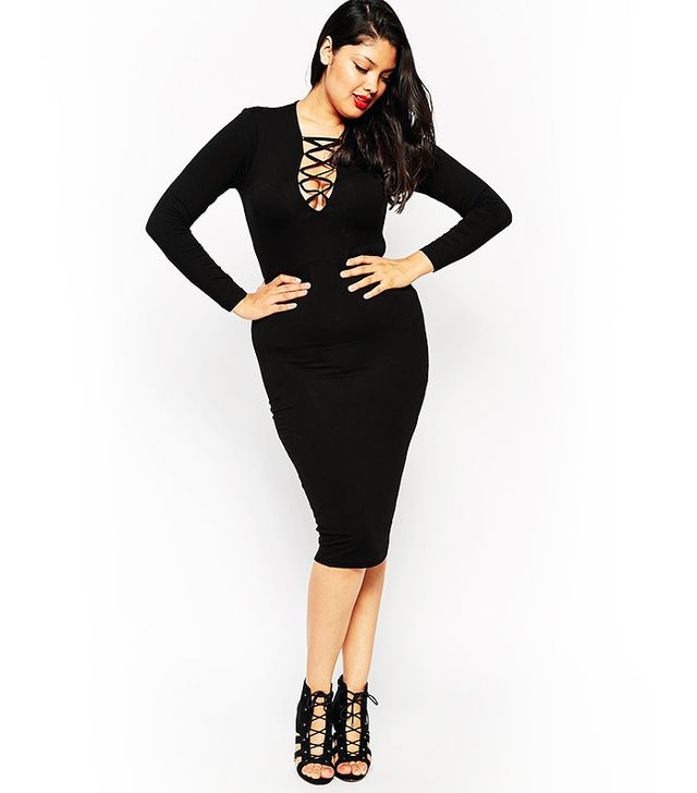 ASOS Curve Bodycon Dress With Lace Up Detail, Black