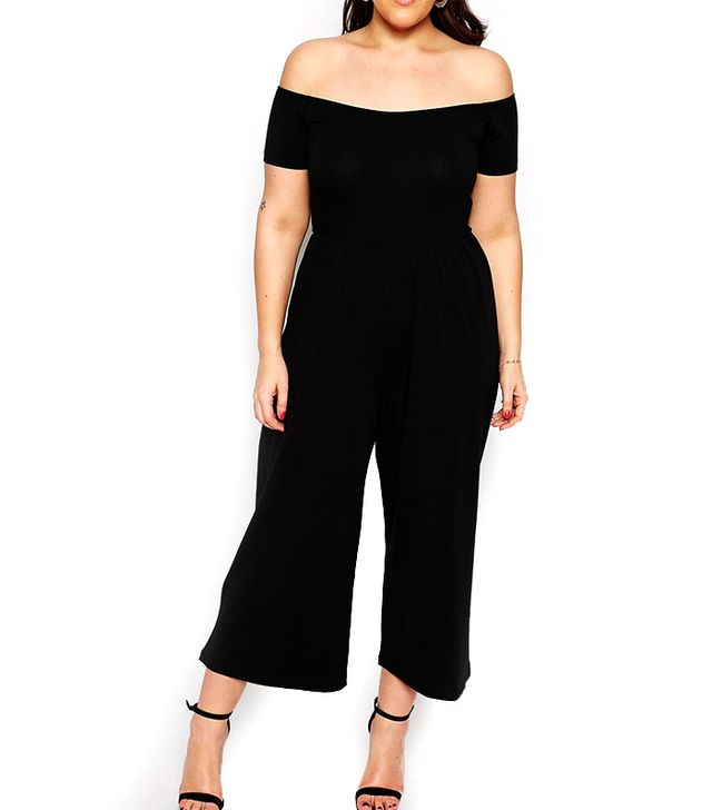ASOS Curve Bardot Jumpsuit With Cropped Wide Leg