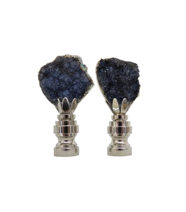 C. Damien Fox Lighting Design Graphite/Blue Geode Finials in Sterling