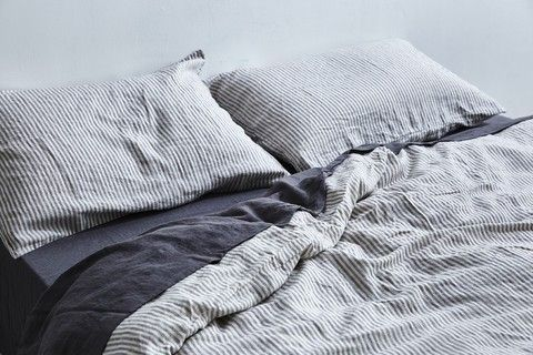 IN BED 100% Linen Duvet Cover in Grey & White Stripe
