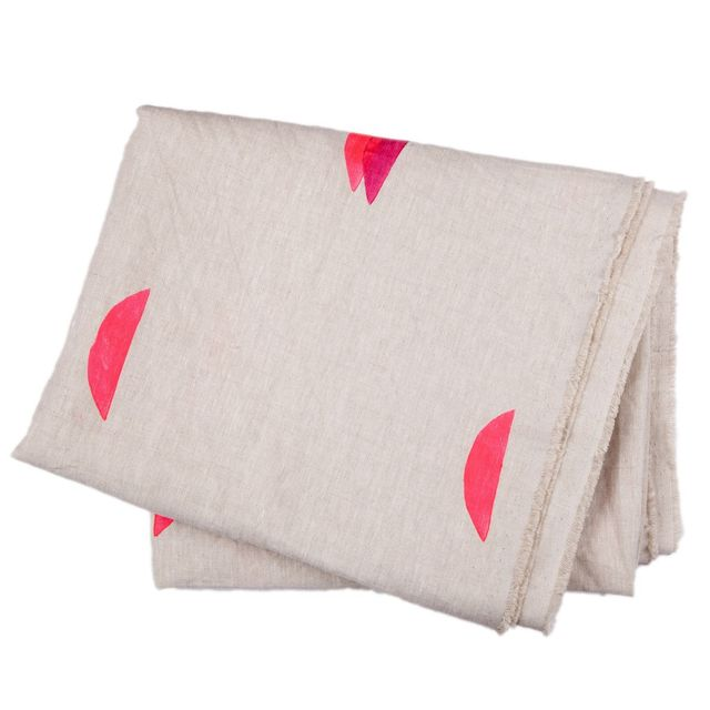 Caroline Hurley Linen Throw 'Jules' in Natural & Pink