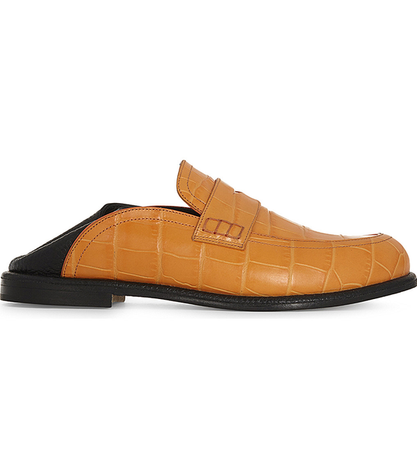 Crocodile-embossed leather loafers