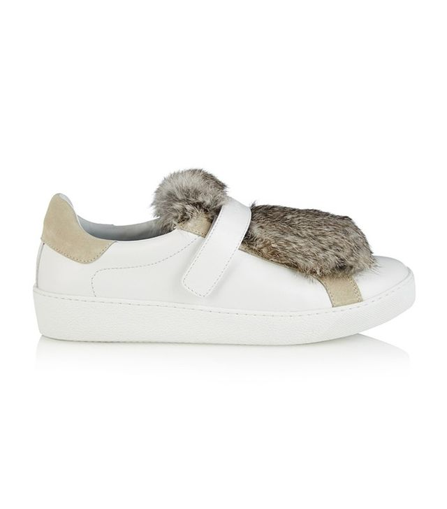 Moncler Rabbit-Fur Leather Sneakers